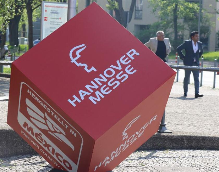 A cube with the logo of the Hanover Fair and its partner country Mexico before the opening ceremony of the Hanover Industrial Trade Fair in Hannover, northern Germany. EFE