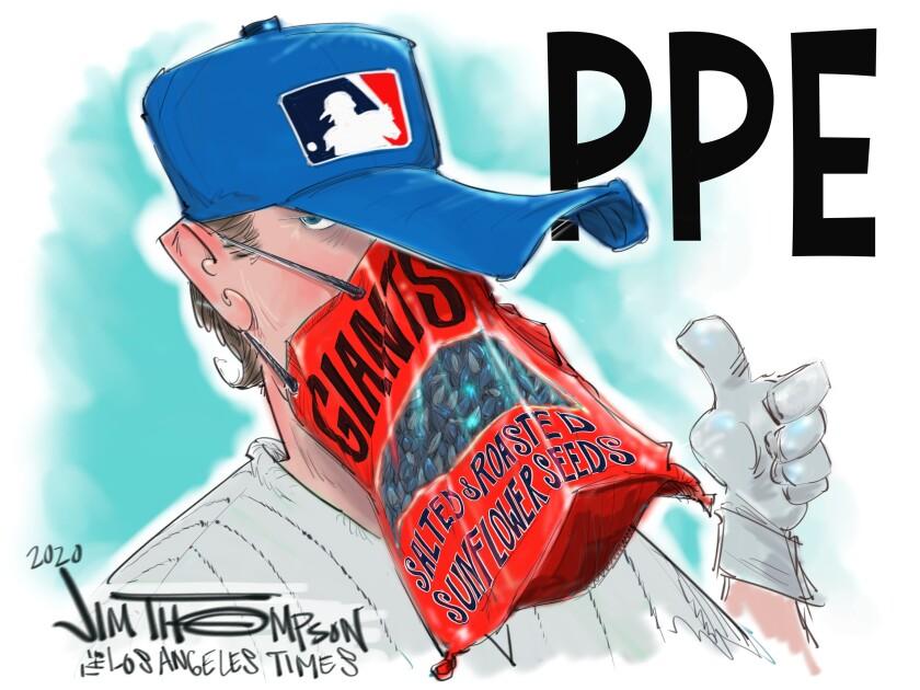 Cartoon showing Major League Baseball's PPE.