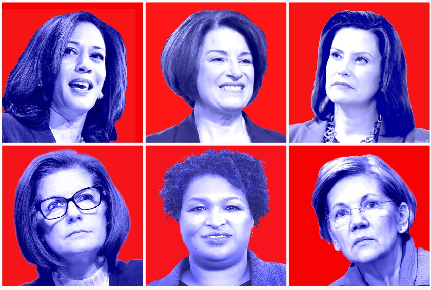 Democratic presidential candidate and former Vice President Joe Biden has pledged to pick a woman as his running mate. Here are six women on Biden's vetting list: top left clockwise, Sen. Kamala Harris, Sen. Amy Klobuchar, Michigan Gov. Gretchen Whitmer, Sen. Elizabeth Warren, former Georgia House leader Stacey Abrams and Sen. Catherine Cortez Masto.