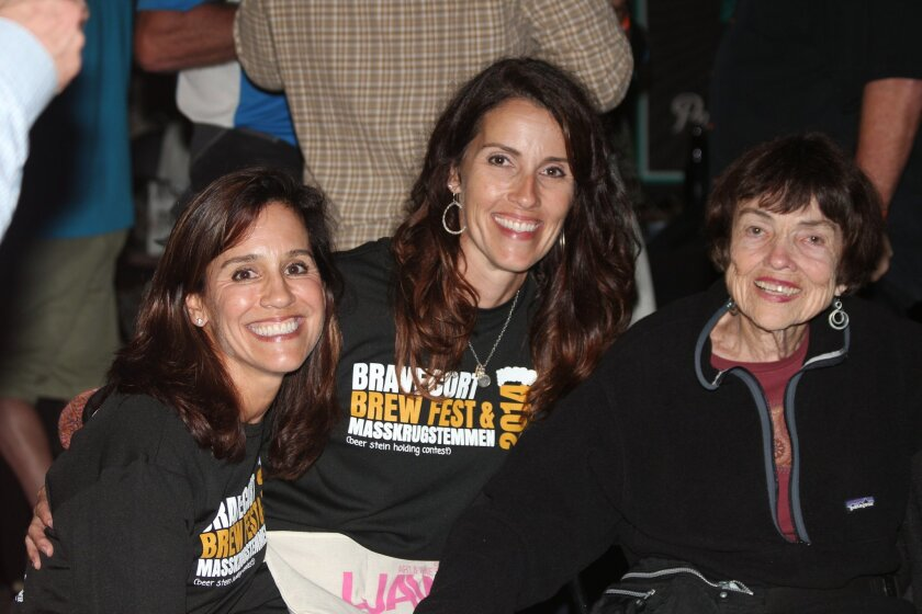 Julie, Andrea and Pat Dahlberg at the BraveCort Beer Fest and Masskrugstemmen. The fundraiser for pediatric brain cancer research was held for the first time Oct. 11 at the La Jolla Art & Wine Festival.