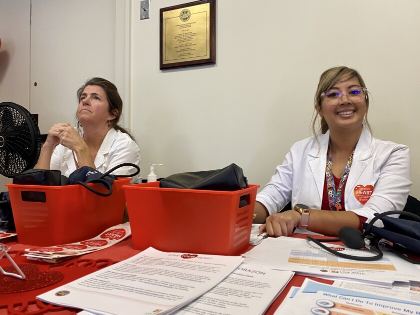 Volunteers will check blood pressure as part of the Health and Human Services Agency's (HHSA) Love Your Heart campaign.