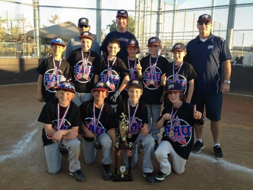 Back row: Coach Jeff Martini, Coach Craig Ramseyer, Coach Brian Belew (and Coach Brandon Belew, not shown); Middle row: Corrado Martini, Cade Ramseyer, Jake Maier, Teagan Pope, Cameron Klein and Luke Stevenson; Front row: Ryan Luther, Jason Behrend, Trevan Martin and Theo Von Posern