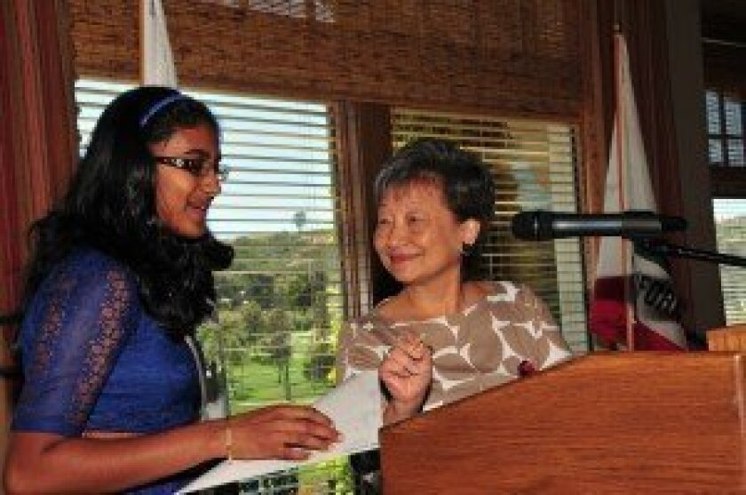 "Rancho Santa Fe resident Connie Matsui (right) presented the first-ever ""Cool Girl"" award to Snigdha Nandipati, Scripps National Spelling Bee 2012 champion, at San Diego's 10 Cool Women of 2013 luncheon, held by Girl Scouts San Diego."