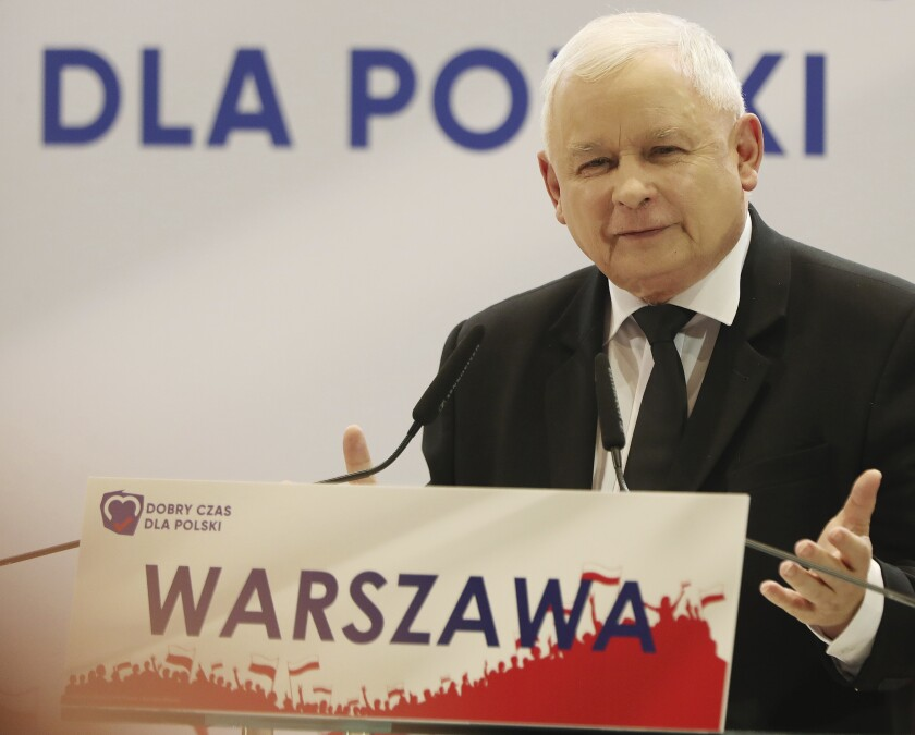 In this photo taken Tuesday Oct. 8, 2019 Poland's ruling right-wing party leader Jaroslaw Kaczynski speaks at a convention in Warsaw, Poland. ahead of Sunday parliamentary election in which his Law and Justice party is hoping to win a second term in power. (AP Photo/Czarek Sokolowski)