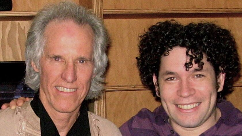 doors drummer Johm Densmore and Gustavo Dudamel at Disney Hall Nov. 14, 2009.