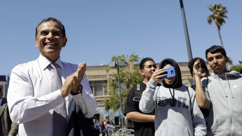 Antonio Villaraigosa, the former mayor of Los Angeles, speaks with students from Hayward's Tennyson High School during a campaign stop Friday, May 11, 2018, in San Francisco. Villaraigosa is running for governor of California.