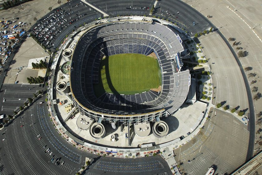 Qualcomm Stadium, home to the San Diego Chargers, sits on a 166 acre lot.