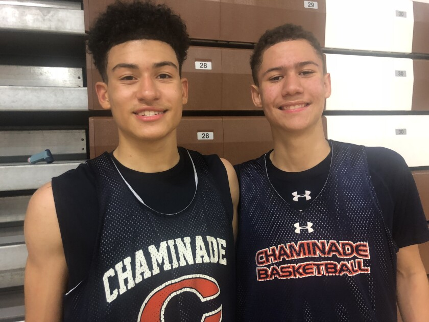 Chaminade guards Kenneth Simpson Jr., left, and Keith Higgins Jr. led the Eagles to a win in their Mission League opener.
