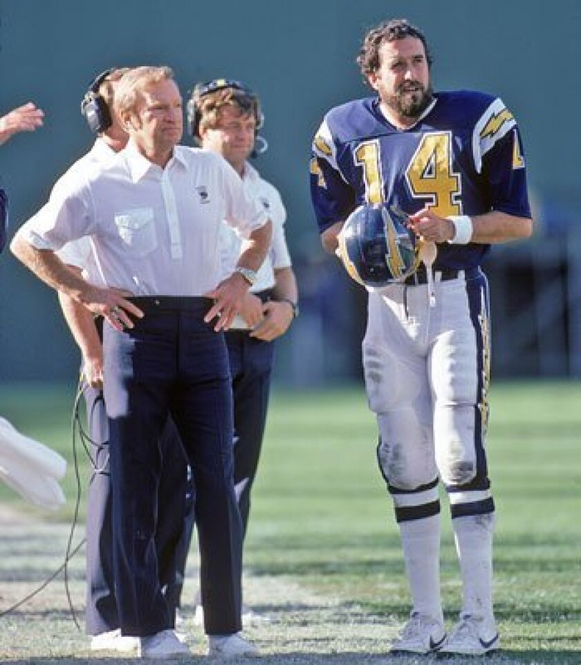 Dan Fouts (right) was the perfect QB to implement Don Coryell's passing attack. (1985 file photo / Getty Images)