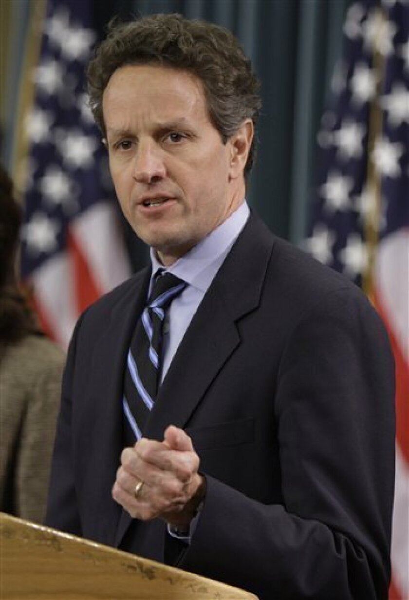 FILE -- In this May 12, 2009 file photo, Treasury Secretary Timothy Geithner speaks at the Treasury Department in Washington.  Geithner's upcoming trip to China as treasury secretary comes at a vulnerable time for the United States. Mired in recession, the U.S. needs China to boost its purchases of
