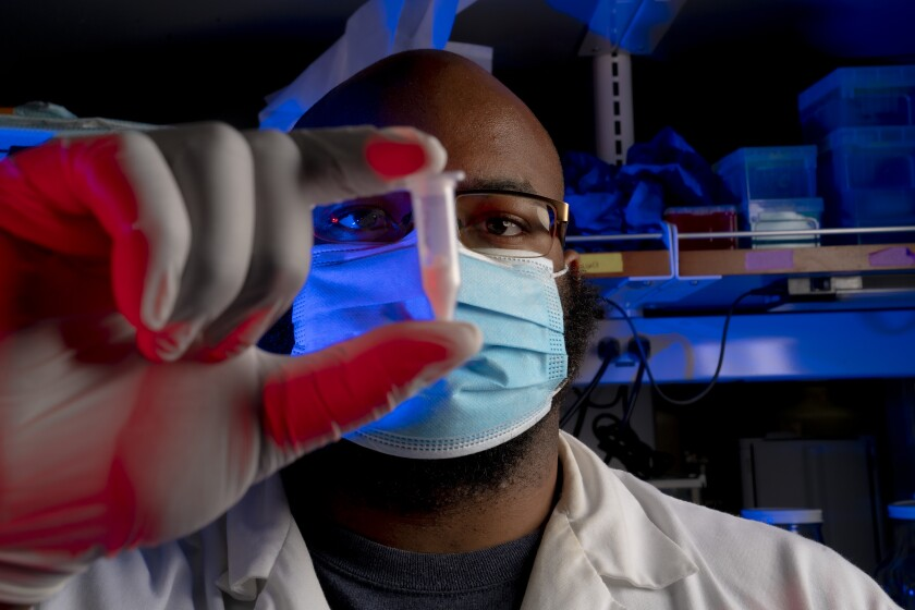 UC San Diego bioengineering graduate student Jervaughn Hunter works in his lab at the Sanford Consortium in La Jolla.
