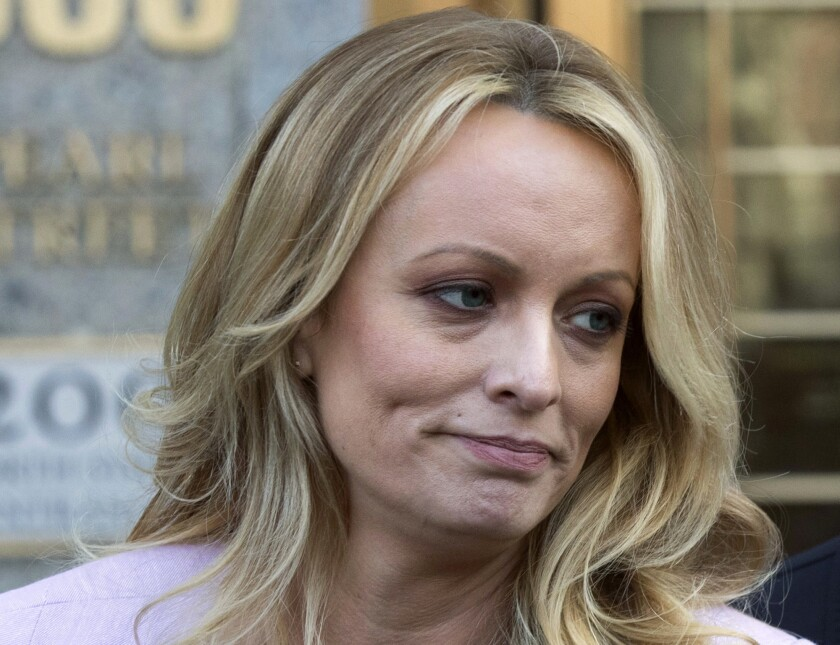 Adult film actress Stormy Daniels speaks outside federal court, in New York. Glendon Crain, the husband of porn film performer Stormy Daniels, filed for divorce in Texas, on July 18, 2018. D