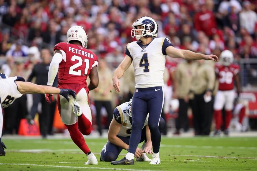 Rams' Greg Zuerlein kicks a 27-yard field goal against the Arizona Cardinals on Dec. 1 in Glendale, Ariz.