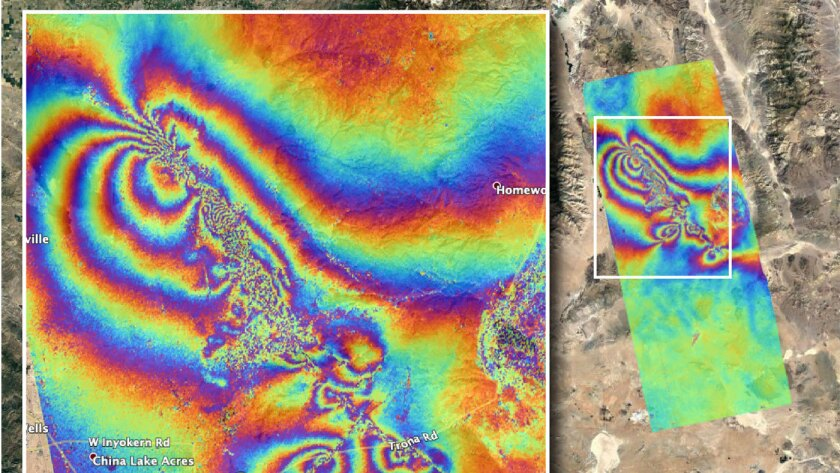 Ridgecrest earthquakes caused damage to the earth's crust seen from satellite
