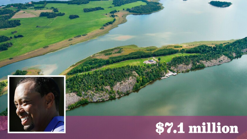 The private Swedish island, priced at about $7.1 million, features tee boxes and a log cabin villa.