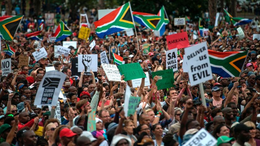 Tens of thousands of South Africans from various political and civil society groups march to the Uni