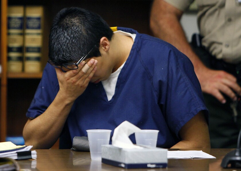 Esteban Nuñez reacts after being sentenced for his role in the death of Luis Santos on June 25, 2010, in San Diego.