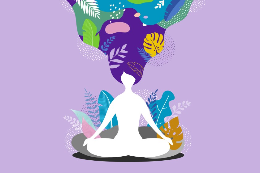 Illustration of a woman sitting in meditation, her mind swirling with images of plants and leaves.