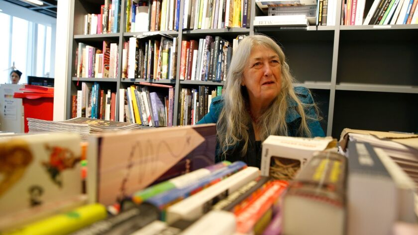 Author Mary Beard at a book signing.