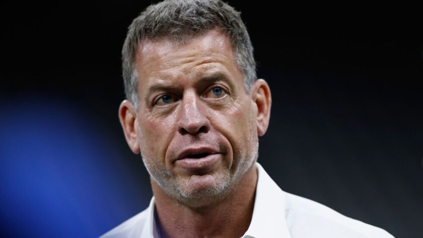 Hall of Fame quarterback and Fox Sports analyst Troy Aikman attends the game between the Rams and the New Orleans Saints on Sunday in New Orleans.