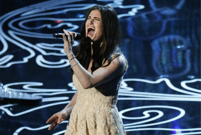 """Idina Menzel performs """"Let It Go"""" from the Disney animated movie """"Frozen"""" at the Academy Awards on Sunday."""