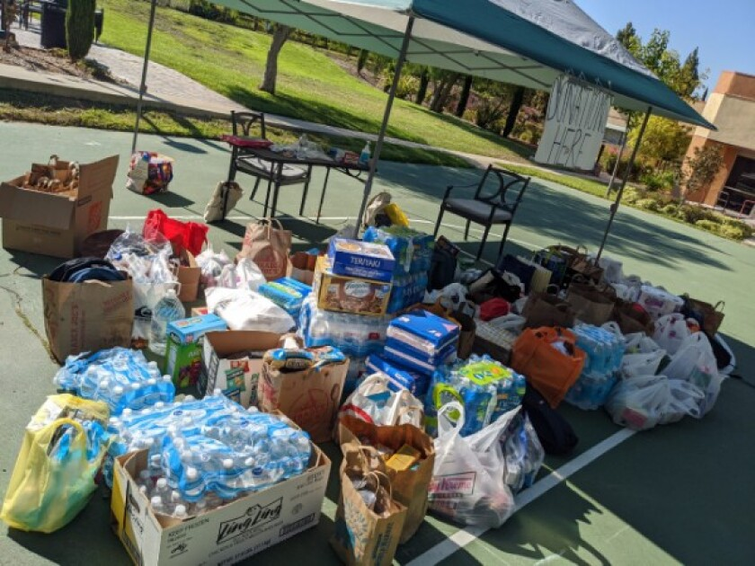 """Supplies for """"solidarity packs"""" for prisoners collected at UC Irvine."""