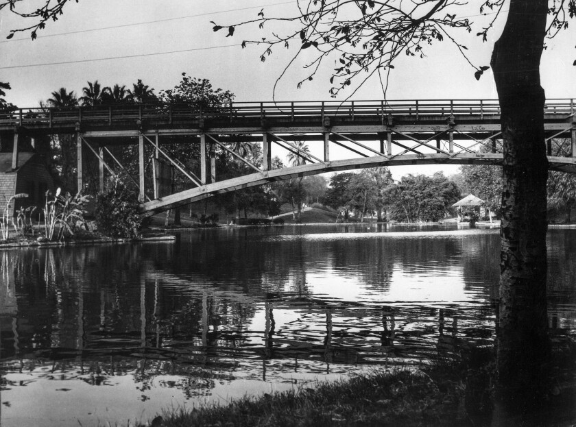 December 1955: This image of the lake and bridge at Hollenbeck Park in Boyle Heights was used in The Times' Know Your City photography series.