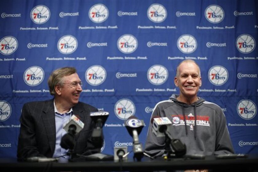 Philadelphia 76ers president Rod Thorn, left, and coach Doug Collins take questions during a news conference at the NBA basketball team's training facility Wednesday, Nov. 30, 2011, in Philadelphia. (AP Photo/Matt Rourke)