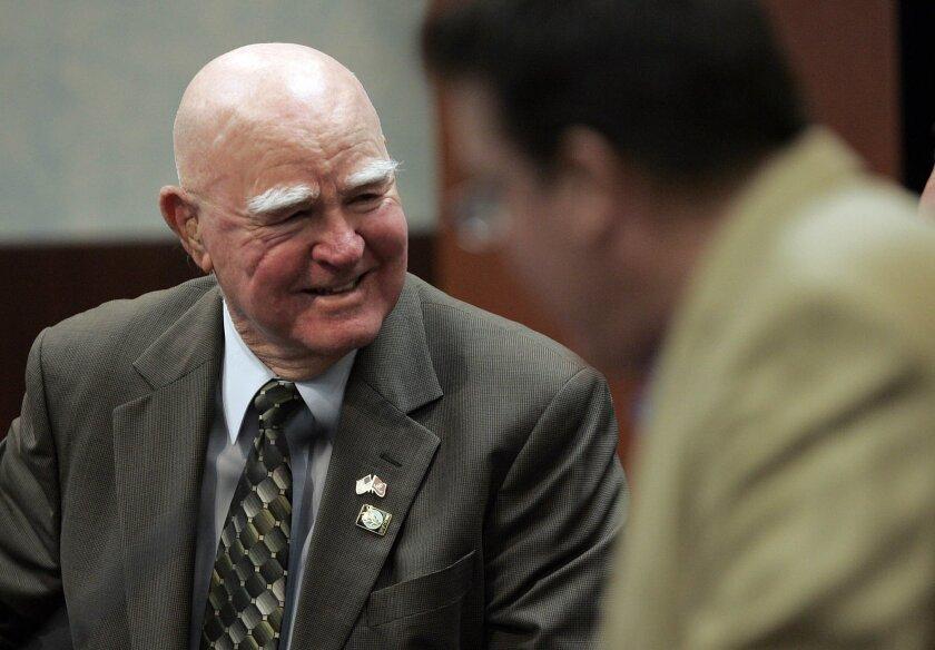"Carlsbad Mayor Claude A. ""Bud"" Lewis officiating at his final Carlsbad City Council in November 2010."