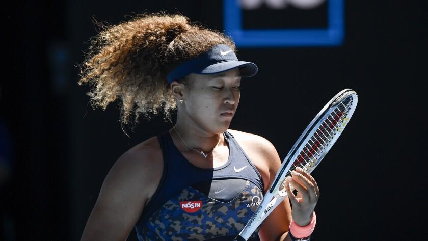 Naomi Osaka during her semifinal against Serena Williams.