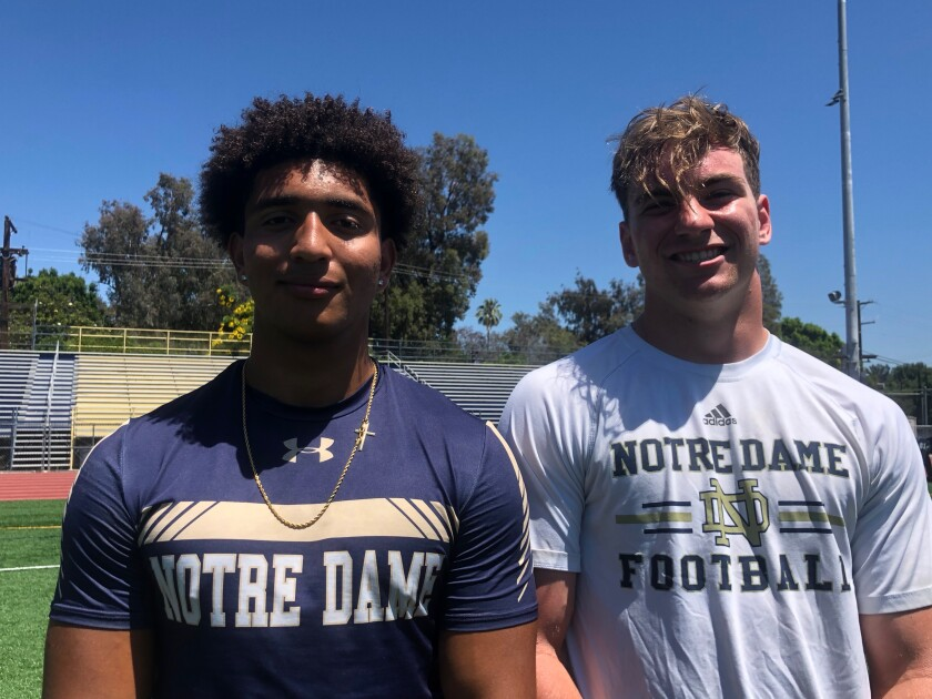 Sherman Oaks Notre Dame juniors Anthony Spearman, left, and Jacob Moore