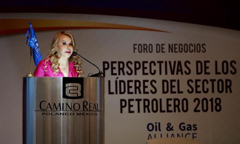 La presidenta de la empresa de seguros NRGI Broker, Graciale Álvarez Hoth, realiza una ponencia hoy,lunes 16 de abril de 2018, en Ciudad de México (México). EFE