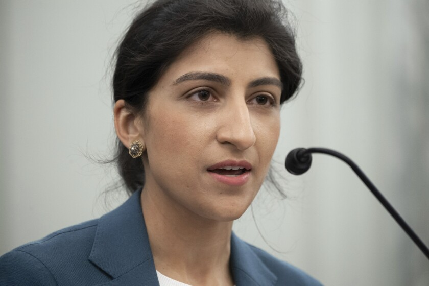 FILE - In this April 21, 2021, file photo, Lina Khan, nominee for Commissioner of the Federal Trade Commission (FTC), speaks during her confirmation hearing on Capitol Hill in Washington. Khan was sworn in as FTC chair Tuesday, June 15, just hours after the Senate confirmed her nomination as a commissioner. (Saul Loeb/Pool via AP, File)