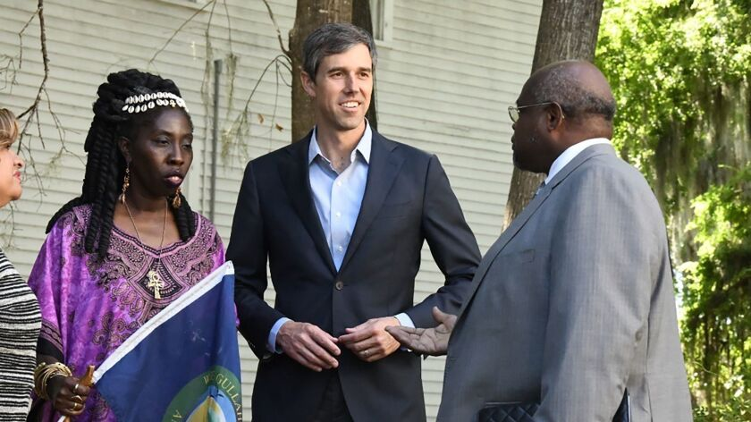 Former Texas Congressman Beto O'Rourke tours monuments to slave and civil rights leaders before a to
