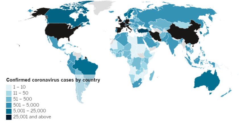 Confirmed COVID-19 cases by country as of 5:00 p.m. Wednesday, April 1, 2020.