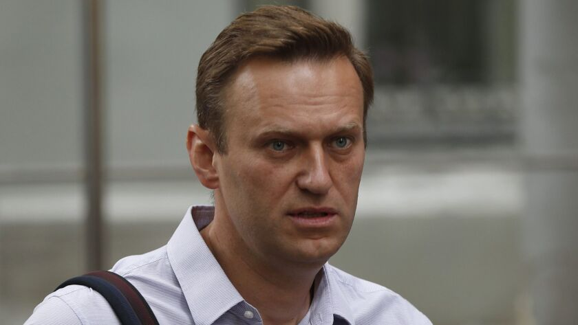 Russian opposition leader Alexei Navalny arrives at court in May after his arrest during a recent protest in Moscow. Navalny was detained Saturday outside his home.