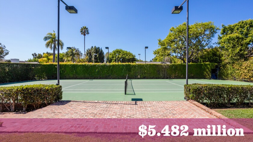 A Brentwood home with a tennis court once used in the training of John McEnroe and the Williams sisters is for sale at $5.482 million.