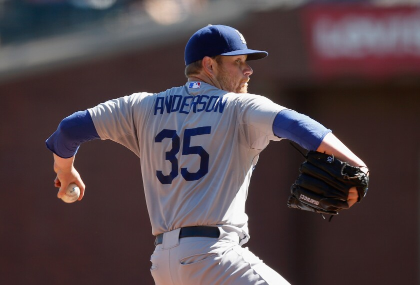 Dodgers starter Brett Anderson went 7 2/3 innings against the Giants on Thursday, giving up four hits and two runs to improve to 10-9 this season.