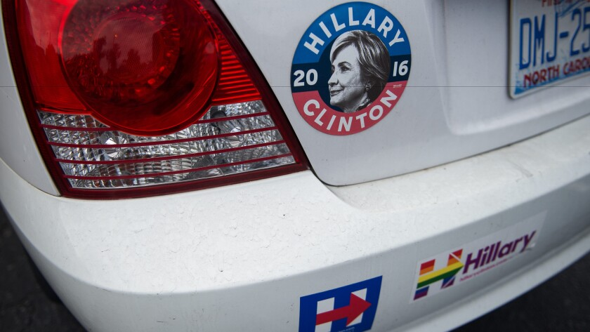 A few (relatively mild) bumper stickers express a North Carolina car owner's support for Democratic presidential candidate Hillary Clinton.
