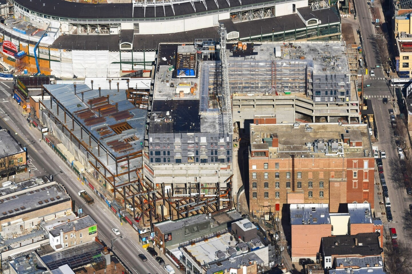 An aerial view shows the Addison & Clark development, which is under construction in Wrigleyville. It will have 148 apartments and 150,000 square feet of retail.
