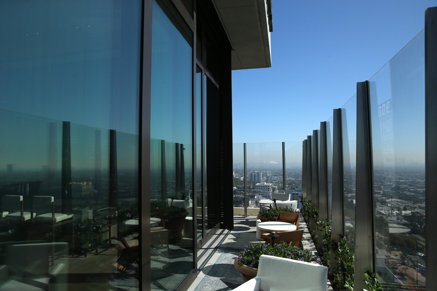 View from The Roof, a rooftop bat at the new Edition Hotel in West Hollywood.
