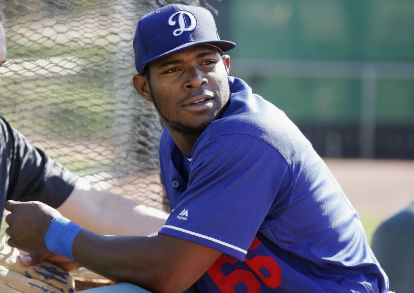 Dodgers outfielder Yasiel Puig is seen at the team's spring training facility at Camelback Ranch in Phoenix on Feb. 26.