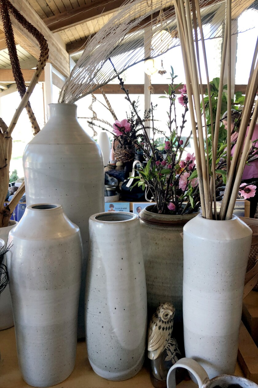 Assorted tall glazed vases from makers including Mitsuko and Shoshi at Cattywampus Crafts ($90-500)