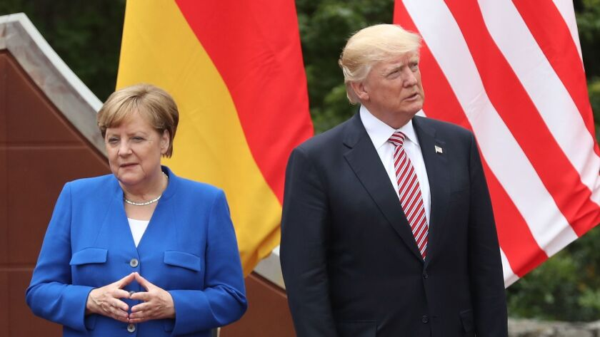 "German Chancellor Angela Merkel and President Trump at the Group of 7 summit in Taormina, Italy, on Friday. Merkel has since said that her experience left her feeling that Germany could not ""rely completely on others."""