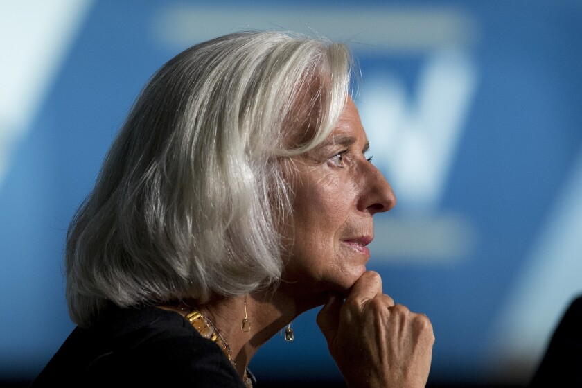 """Christine Lagarde, head of the International Monetary Fund, says it is """"mission critical"""" that the standoff in the U.S. be resolved soon. She is worried that not raising the U.S. debt limit could cause serious harm to the global economy."""