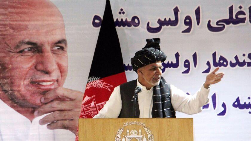 Afghan President Ashraf Ghani in the southern city of Kandahar on Aug. 22, 2017.