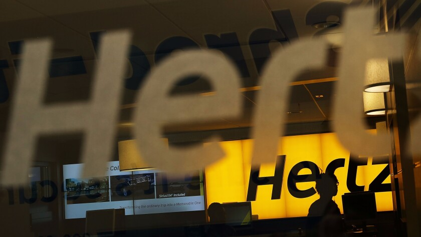 A Hertz car-rental agency in Manhattan.