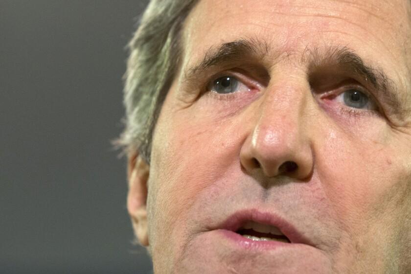 Secretary of State John Kerry speaks in Washington.