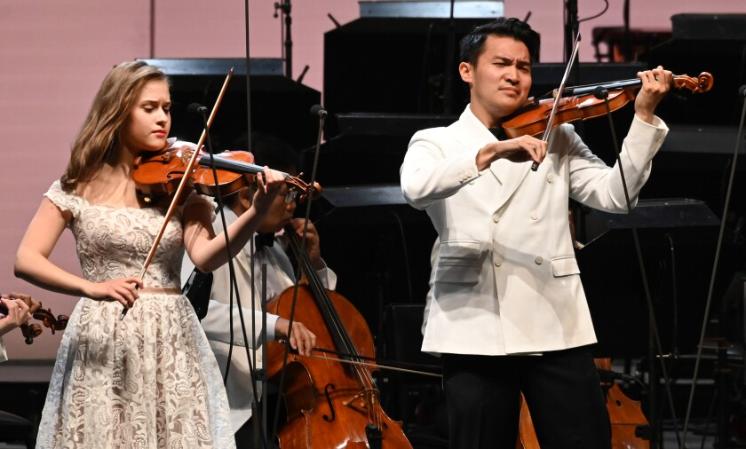Laura Kukkonen and Ray Chen at the Hollywood Bowl
