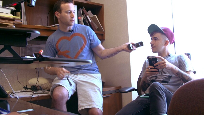 """Joshua Block, left, and Chase Strangio in the documentary """"The Fight."""""""